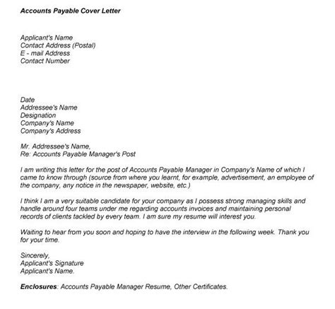 accounts payable cover letter exles cover letter accounts payable supervisor professional