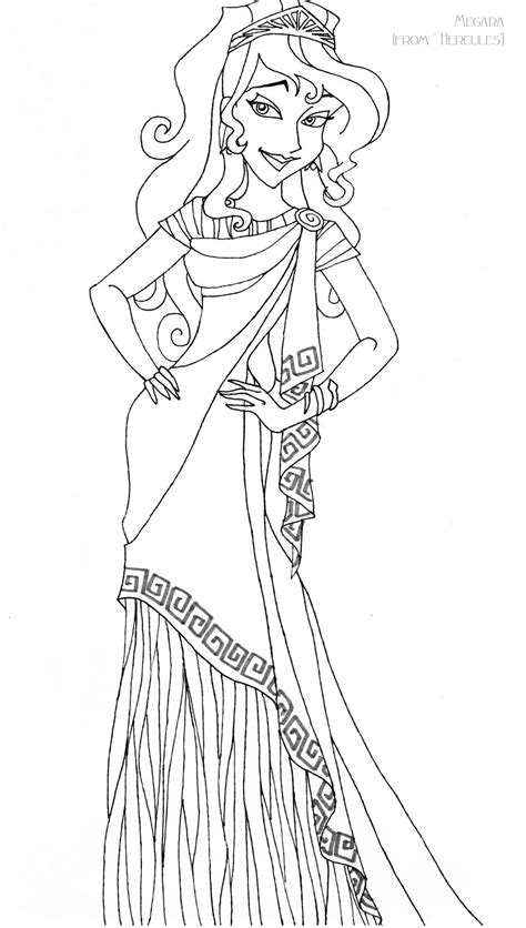 megara deluxe gown lineart by ladyamber on deviantart