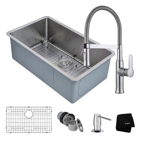 Kraus Stainless Steel Kitchen Sinks Kraus Handmade All In One Undermount Stainless Steel 30 In Single Bowl Kitchen Sink With Faucet