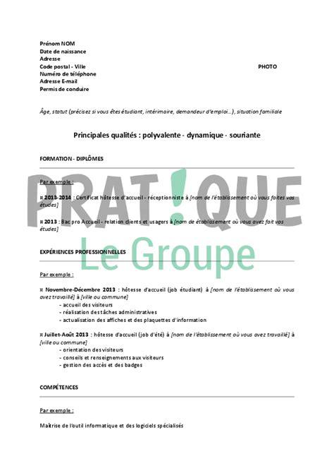 Lettre De Motivation Stage Hotesse D Accueil Mod 232 Le De Cv Pour Un Stage D H 244 Tesse D Accueil Pratique Fr