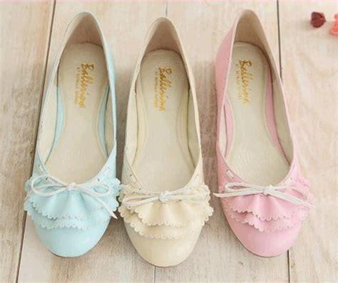 Sepatu Balet Bata shoes pastel bow girly ballet flats ruffle