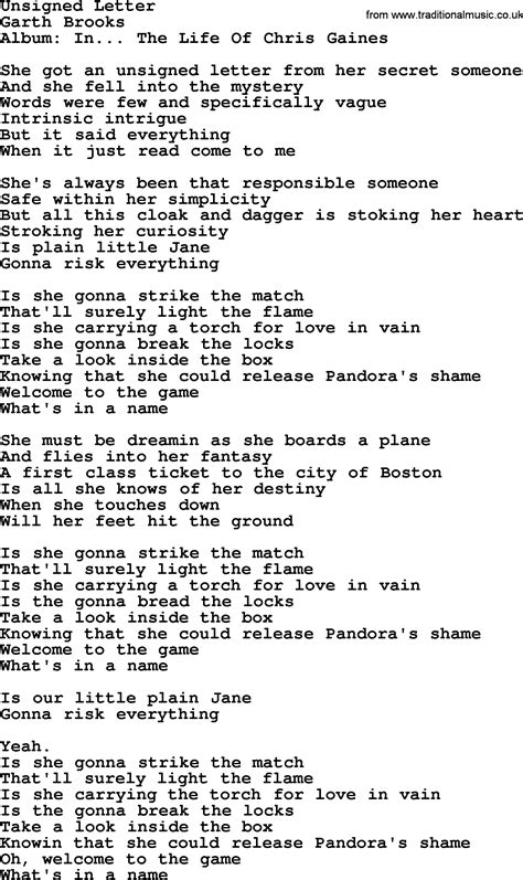 Letter Using Song Lyrics Unsigned Letter By Garth Lyrics