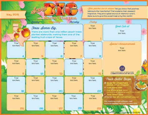 F N Menu Calendar Templates Kellogg S School Menu Template