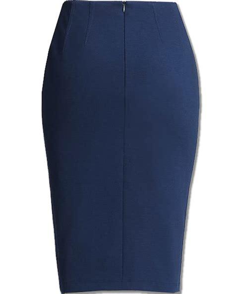 Pencil Skirt blue ponte knit pencil skirt elizabeth s custom skirts