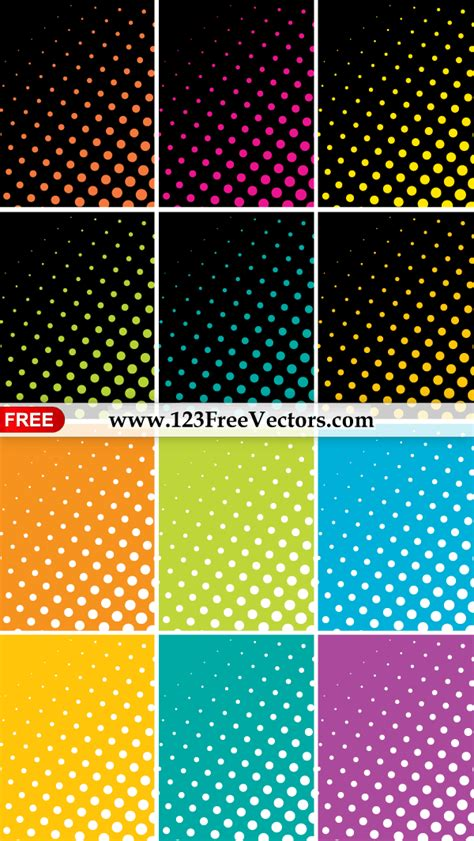 dot pattern vector pack free colorful halftone dots background vector pack 123freevectors