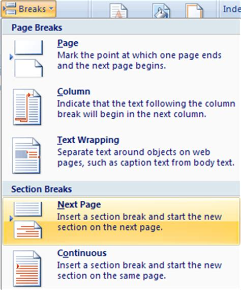 insert a section break make one page landscape in word