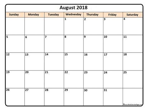 August 2018 Calendar August 2018 Calendar Printable August 2018 Calendar Template