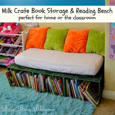 reading bench milk crate book storage and reading bench brie brie blooms