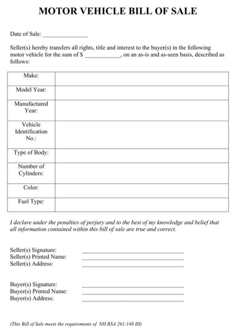 Download New Hshire Bill Of Sale Form For Free Formtemplate Nh Vehicle Bill Of Sale Template