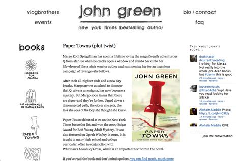 themes in the book paper towns i hacked john green s web site