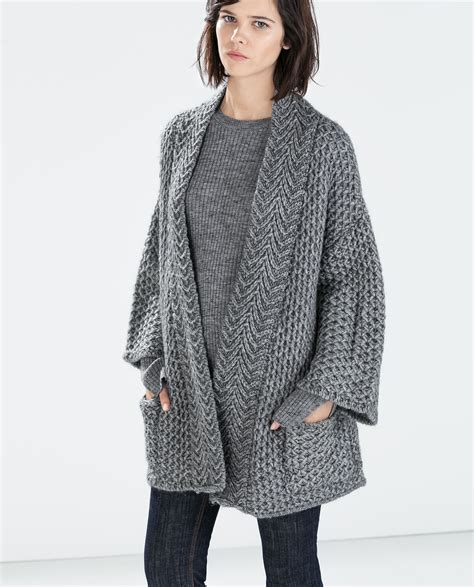 Zara Knit Cardigan With Pockets In Gray Lyst