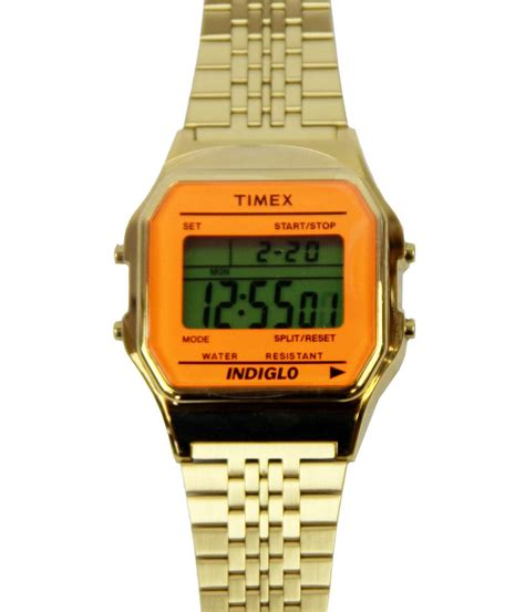 timex 80 retro 1980s goldtone digital with orange lens