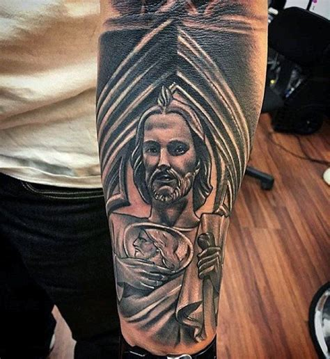 mens forearm sleeve st jude tattoos virgencita