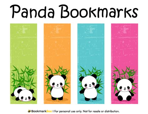 bookmarks free templates free printable panda bookmarks the pdf template