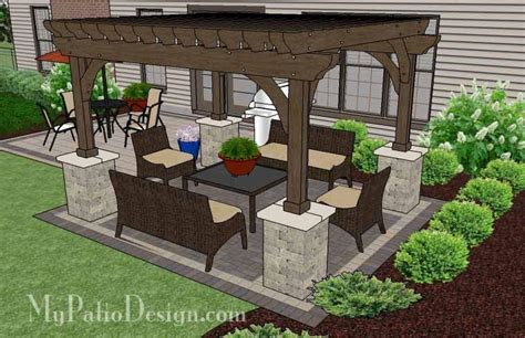 Simple and affordable brick patio design with pergola 470 sq ft mypatiodesign com
