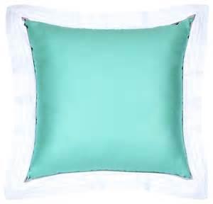 Modern Decorative Pillows Sateen Blue Flange Pillow Modern Decorative