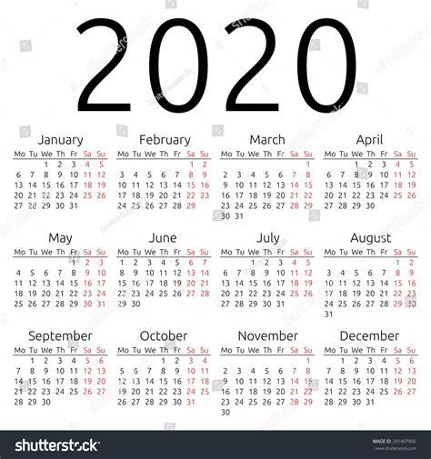 2020 Year Calendar Simple 2020 Year Calendar Stock Illustration 291407900