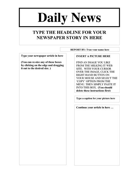 gallery for gt blank newspaper headline template