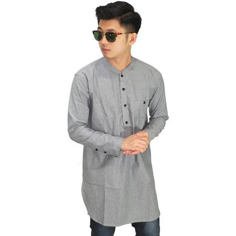 Baju Koko Kurta Gamis Grey Baju Muslim Pakistan