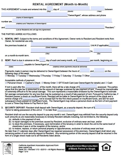 printable rental agreement month to month free california monthly rental agreement pdf template