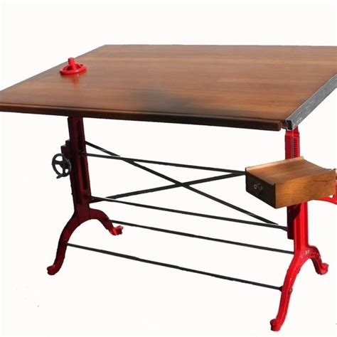 Hand Crafted Custom Red And Polished Steel Antique Wood Custom Drafting Table