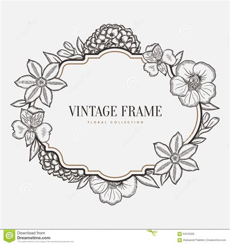 Frame Clipart 1208054 Illustration By by Vector Floral Vintage Frame Retro Style Graphic Stock