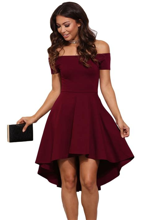 New High Low Fit Dress fall burgundy high low skater dress plus size clothing summer 2017 new style mini dress