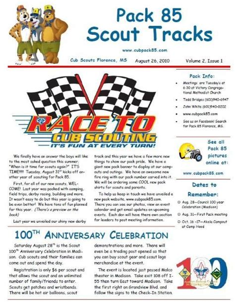 boy scout newsletter template newsletter cub scout pack 85 florence