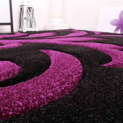 teppich schwarz designer teppich festival mit konturenschnitt muster lila