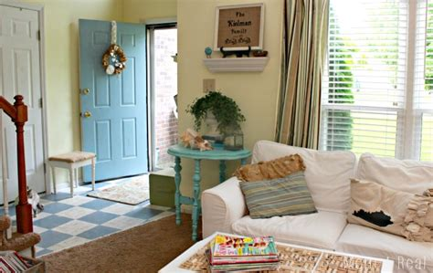 blue beach house living room www imgkid com the image a beach inspired vignette mom 4 real