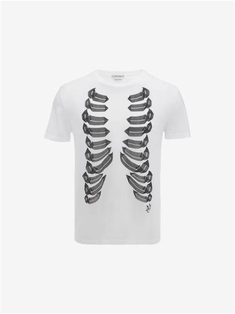 Adidas Cage Jersey White Original mcqueen rib cage print t shirt in black for