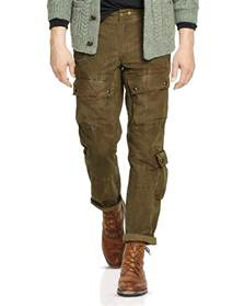 Rugged Mens Clothing Ralph Lauren Polo Waxed Cotton Canvas Cargo Pants In Brown