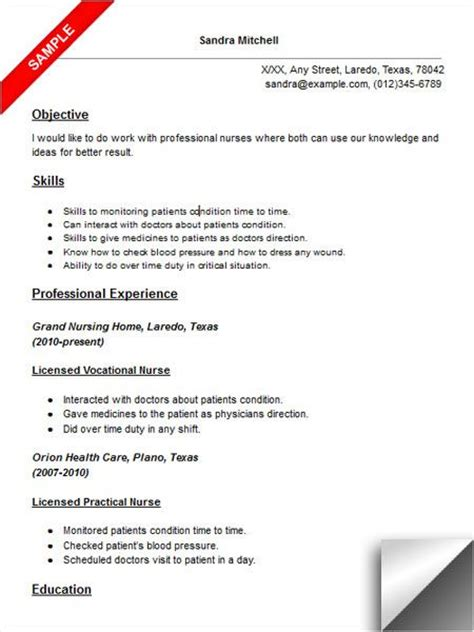 Resume Exles For Licensed Vocational Nurses the world s catalog of ideas