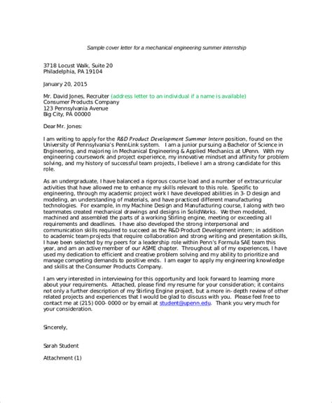 sle internship cover letter 8 exles in pdf word