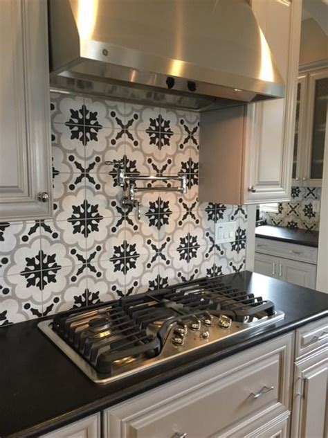 black and white kitchen backsplash arizona tile cementine int tile concrete