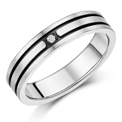 5mm Wedding Ring by 5mm Titanium Black Grooved Engagement Wedding Ring