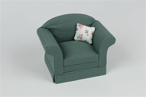 pillow armchair green armchair with floral pillow dollhouse alley