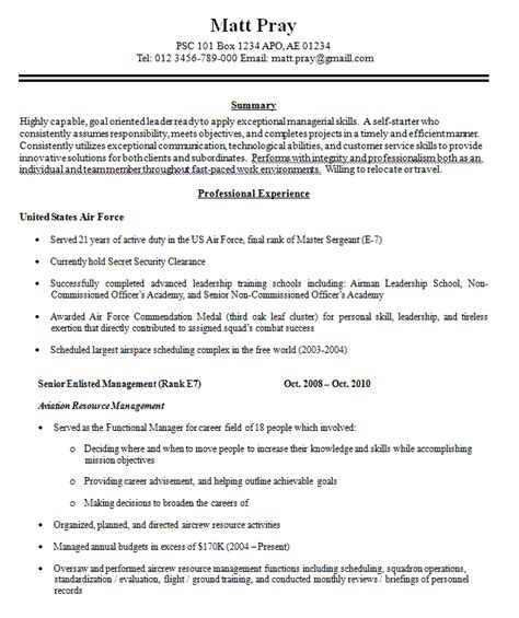 Sample Military Resume Level Resume That Will Successfully Help You Build Your Career