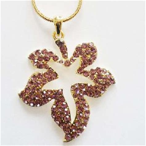 Rhinestone Maple Leaf Necklace rhinestone canadian maple leaf jewelry pendent necklace