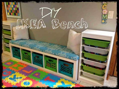 ikea bench cushion diy storage bench with ikea shelf refresh living