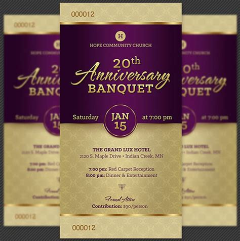layout of formal banquet church anniversary banquet ticket template inspiks