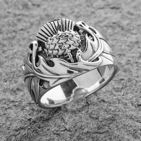 rings scottish thistle ring sterling silver celtic