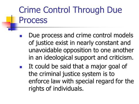 Crime Model And Due Process Model by Due Process Vs Crime Model Criminal Justice