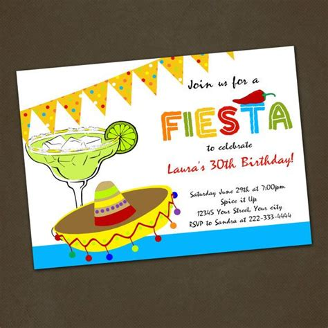 mexican fiesta birthday party invitations you print