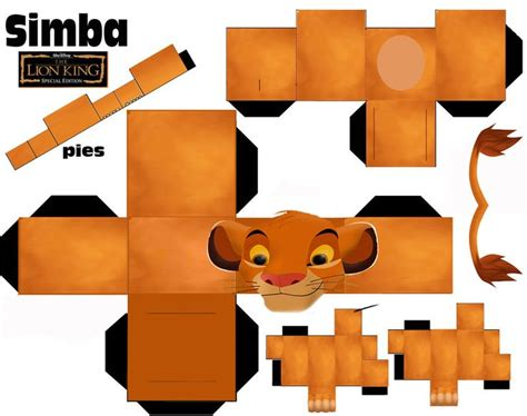 printable paper animals simba cubeecraft by vaniakorn5 deviantart com on