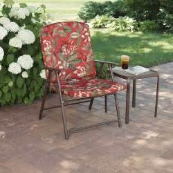 Mainstays padded fab folding chair red floral patio furniture