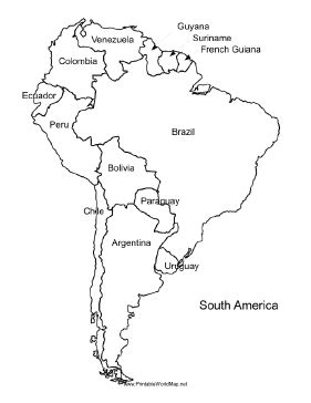 coloring page map of chile a printable map of south america labeled with the names of