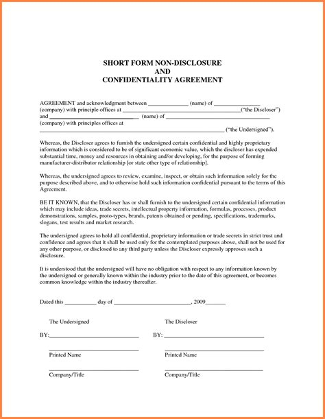 employment confidentiality agreement template 5 employee non disclosure agreement sle purchase
