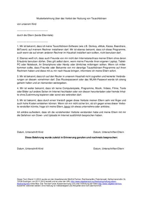 Vorstellungsgespräch Vorlagen Muster Muster Belehrung Ueber Das Verbot Der Nutzung Tauschboersen Hhaft