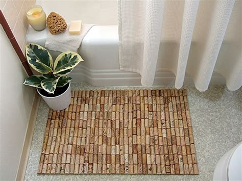 bathroom mat ideas creative wine cork bath mat